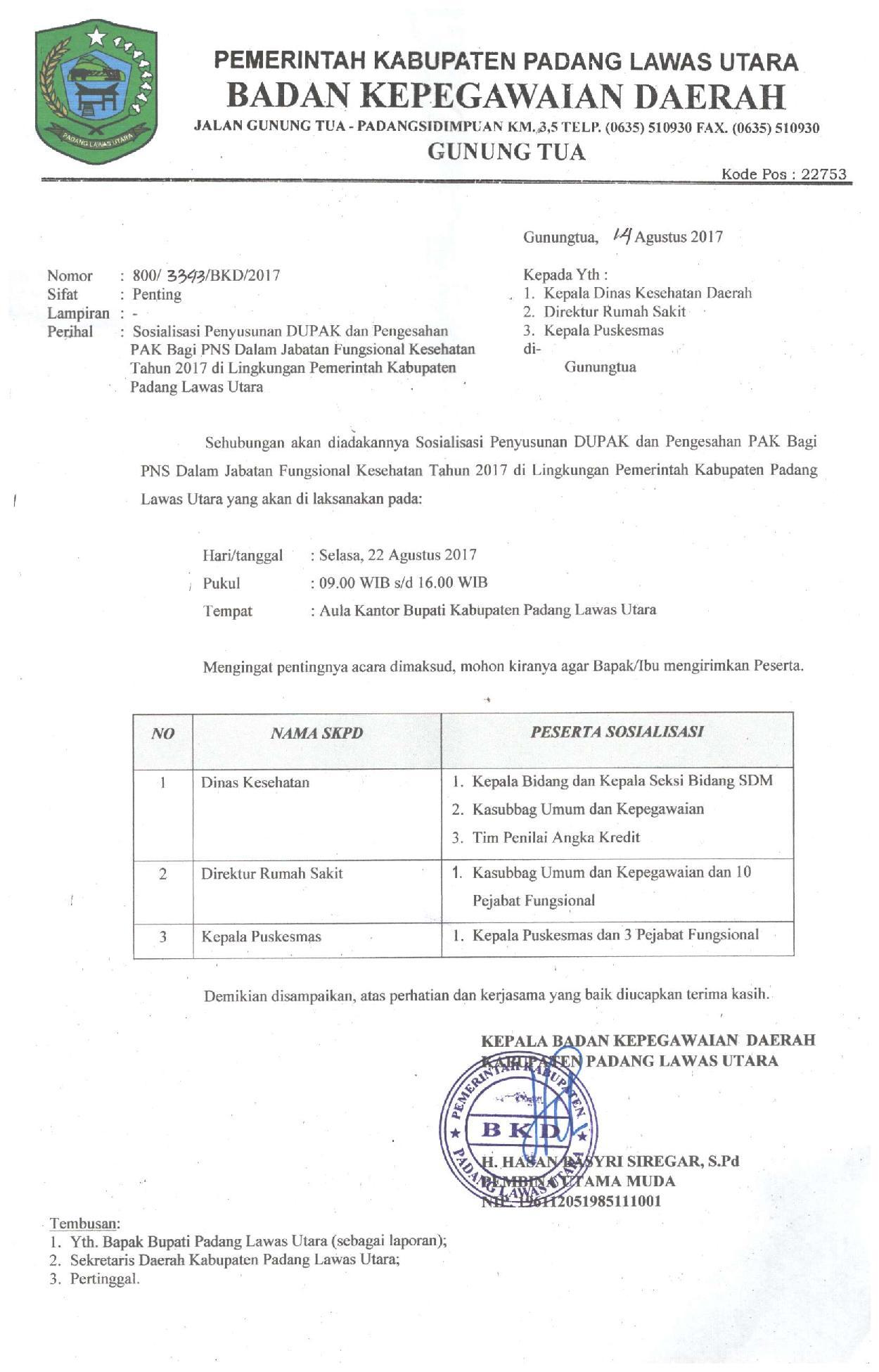 Undangan Sosialisasi Penyusunan DUPAK PNS Jabatan Fungsional Tertentu Kesehatan