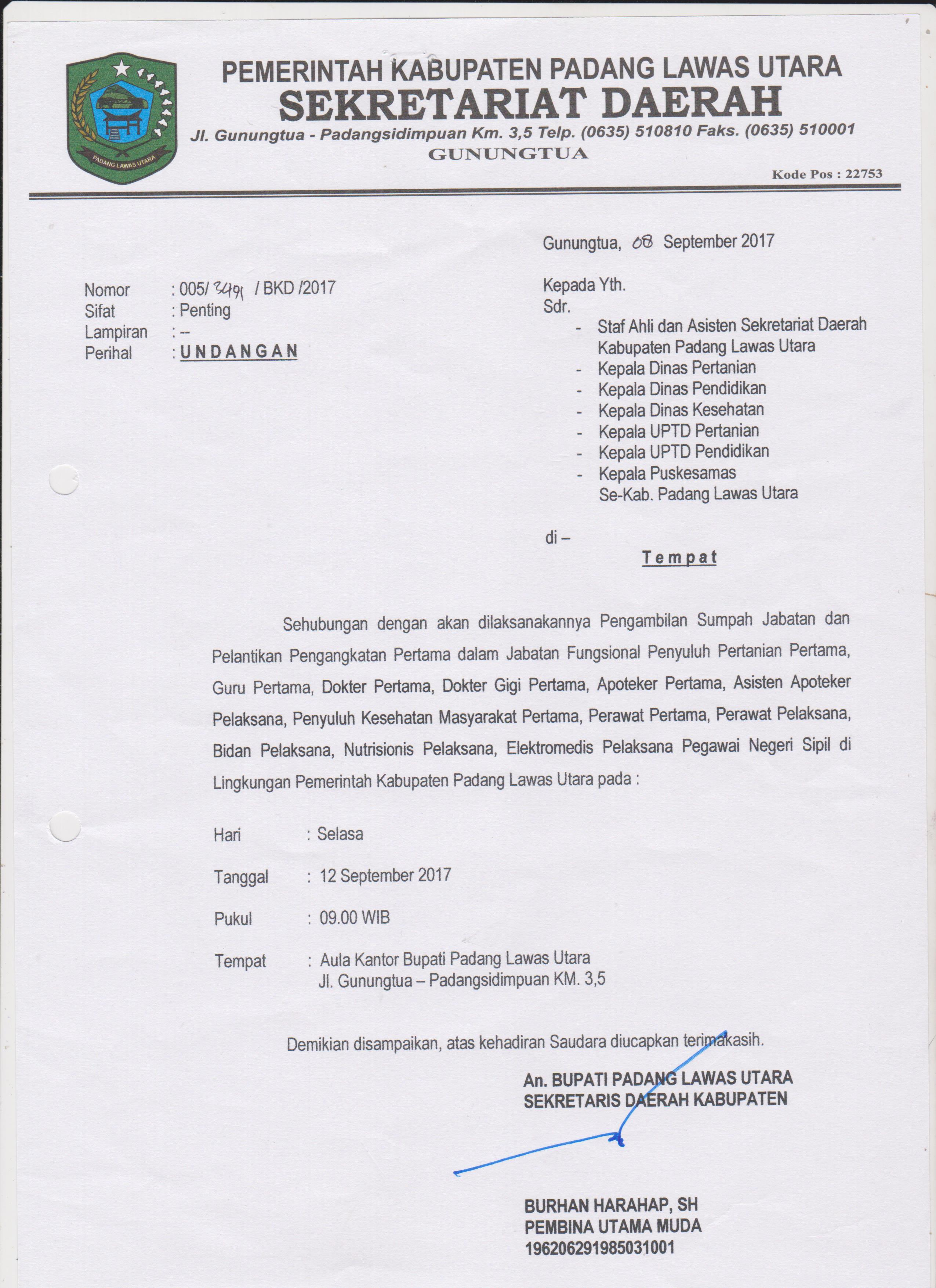Undangan Pengambilan Sumpah Jabatan Pns Jft Di Lingkungan Pemerintah Kabupaten Padang Lawas Utara
