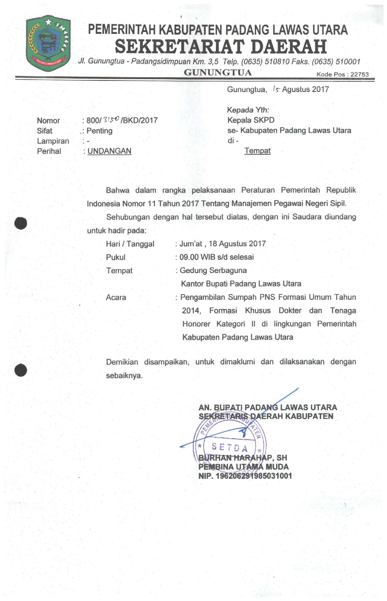 Surat Undangan Pengambilan Sumpah PNS