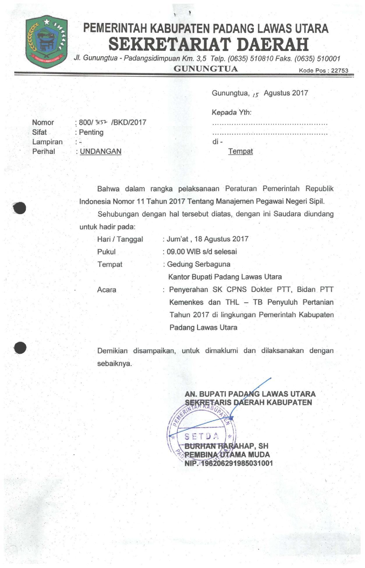 Surat Undangan Penyerahan Sk Bidang Ptt Dan Tenaga Penyluh